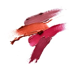 Collection of various Smears lipstick on white background Use for advertising