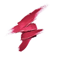 Collection of various smears lipstick texture paint on white background. Beauty and make up concept