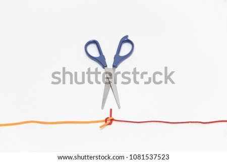 collection of various strings on white background. colorful threads. two colors chamois string. tying string and scissors.