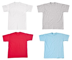 collection of  various t shirts on white background. each one is shot separately