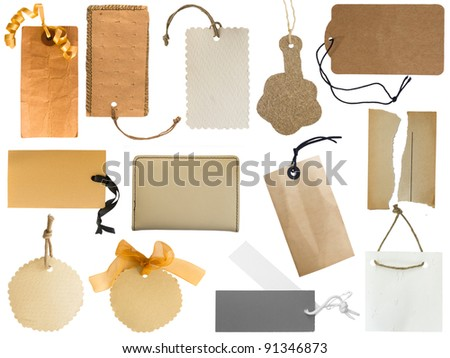 collection of various tags or address labels isolated on the white background