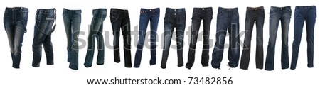 Collection of various types of blue jeans trousers isolated on white