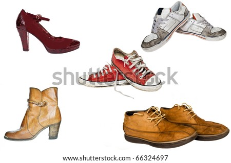 Collection of various types of footwear white background