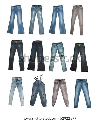 Collection Of Various Types Of Jeans Isolated On White Background ...