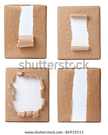 collection of various views of a wrapped box on white background. each one is shot separately