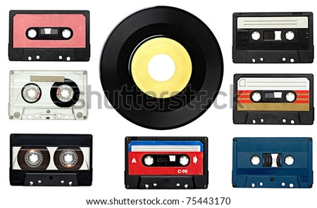 collection of various vintage audio tapes and a vinyl disc on white background. each one is shot separately