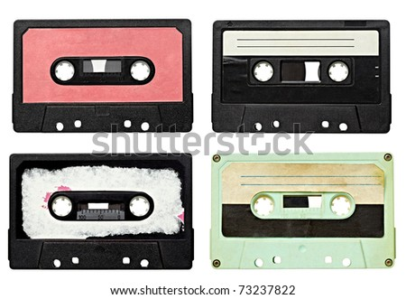 collection of various vintage audio tapes on white background. each one is shot separately