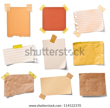 collection of various vintage note papers on white background each one is shot separately