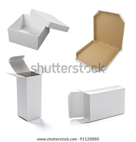 collection of  various white boxes on white background. each one is shot separately