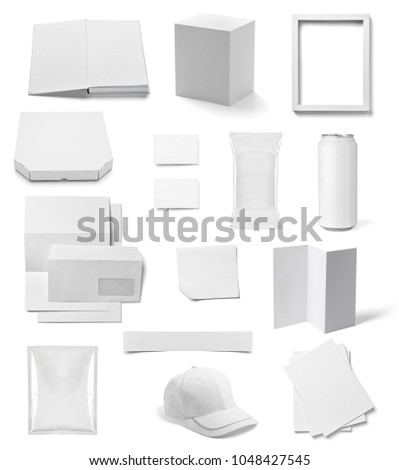 collection of  various white business print templates on white background. each one is shot separately #1048427545