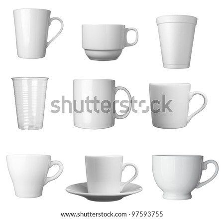 collection of various white coffee cups on white background. each one is shot separately