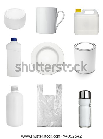 collection of  various white dishes, bottles and containers on white background. each one is shot separately