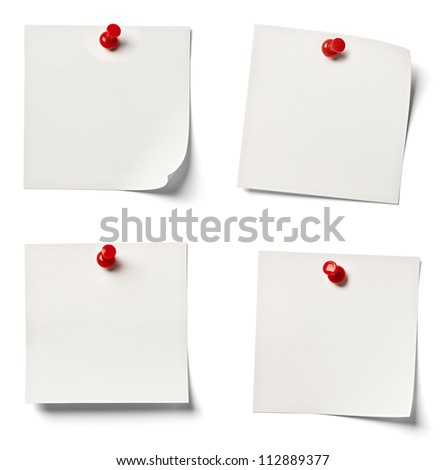 collection of  various white note papers on white background. each one is shot separately