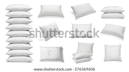 collection of various white pillows on white background. each one is shot separately #376369606