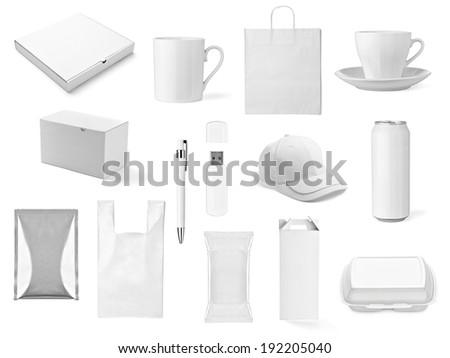 collection of  various white print templates on white background. each one is shot separately #192205040