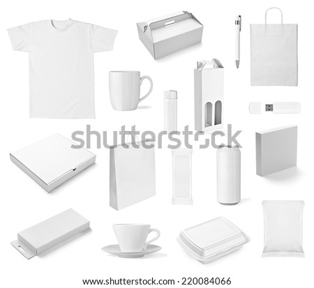 collection of  various white print templates on white background. each one is shot separately #220084066