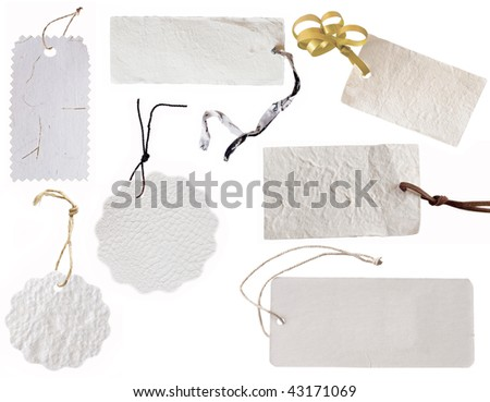 collection of various white tags