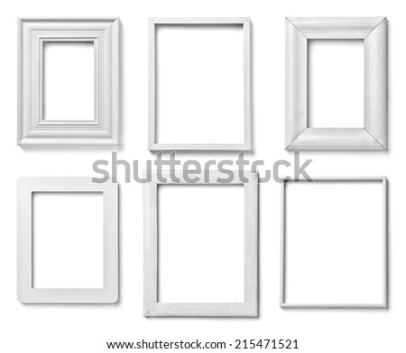 collection of various white wood frames on white background. each ...