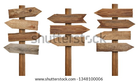 collection of various wooden sign on white background