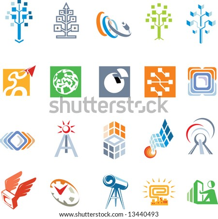 Collection of Vectors Elements for Logo Development. Set of Unusual Icons