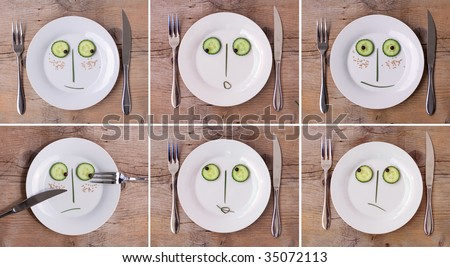 Collection of Vegetable Faces on Plate with knife and fork, set on wooden board - various emotions, male and female