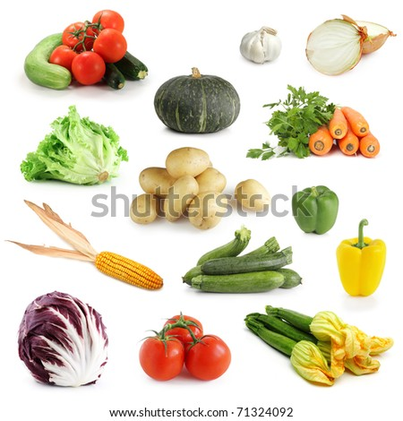 Collection of vegetables isolated on white