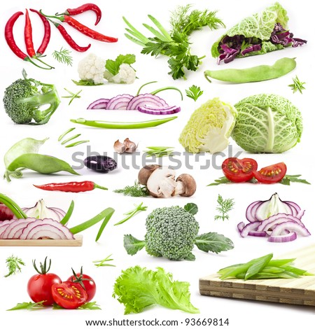 Collection of vegetables with a light shadows isolated on white background