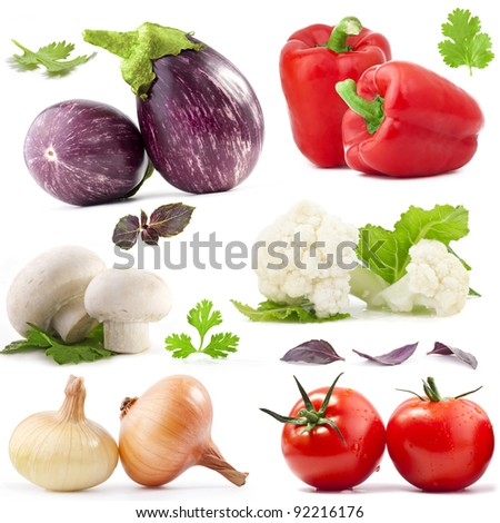Collection of vegetables with a light shadows isolated on white, with clipping paths