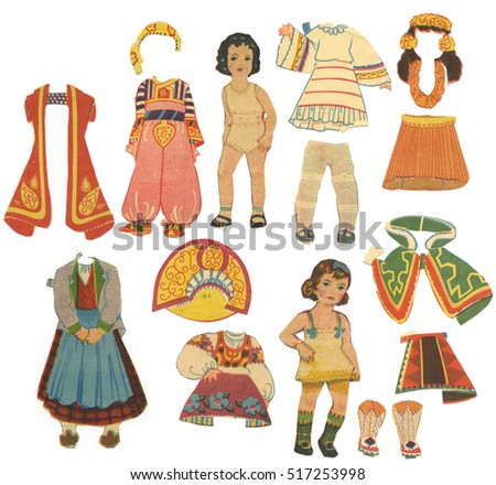 Collection of vintage paper doll from '40