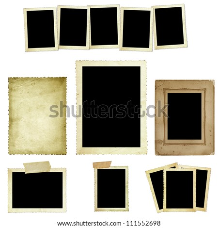 Collection of vintage photo frames or borders isolated on white