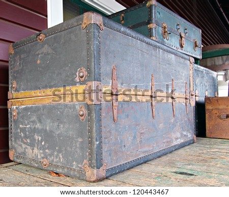 collection of vintage railway luggage trunks