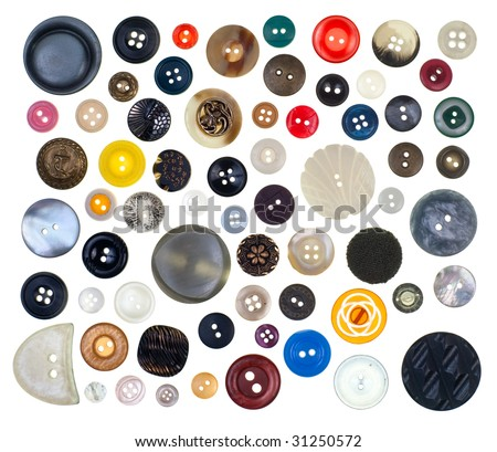 Collection of vintage sewing buttons on white background - stock photo