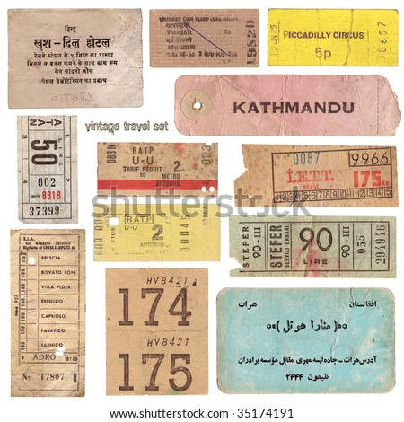 Collection of vintage tickets from around the world and other travel