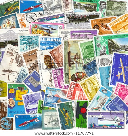 collection of vintage transportation stamps from different countries