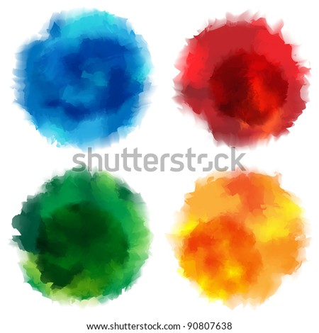 Collection of Watercolor Stains on White Background