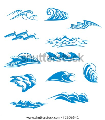 Collection of wave icons in blue with curling and cresting waves in twelve different designs, vector illustration. Vector version also available in gallery
