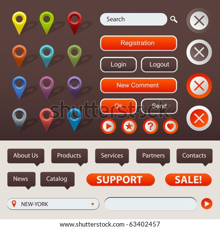 Collection Of Website And GPS Navigation Elements For Your Web Projects