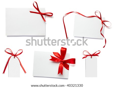 collection of white card note with  red ribbon on white background - stock photo