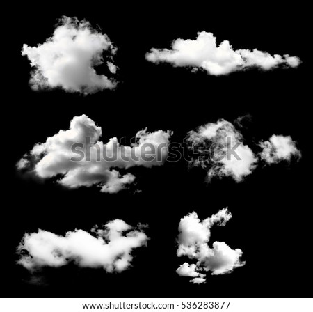collection of white clouds isolated on black background - Shutterstock ID 536283877