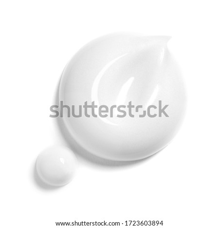 Collection of White Cosmetic Cream Isolated on White Background. Skin Tone CC Cream Tear Shape. Set of Lipstick Smear. Lip Gloss Smudge. Cosmetics BB Makeup Swatche. Drop of Liquid Foundation Stroke
