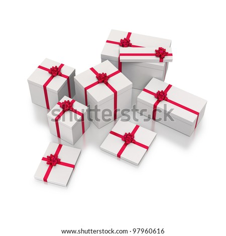 Collection of white gift box with red ribbons on white background