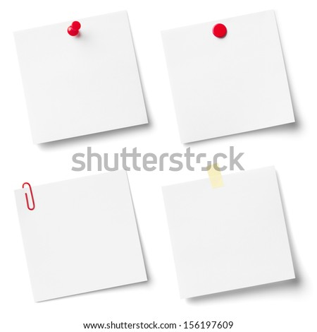 Collection of white note papers, isolated on the white background.