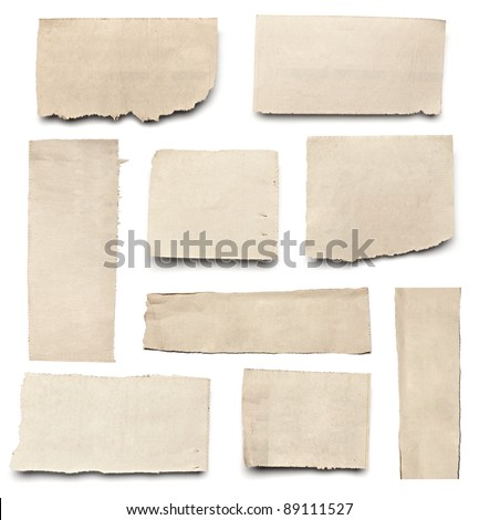 collection of white ripped pieces of news paper on on white background each one is shot separately