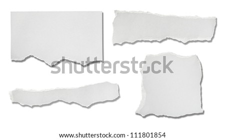 collection of  white ripped pieces of paper on white background. each one is shot separately