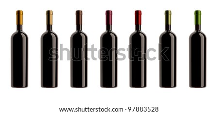 collection of wine bottles with different capsules, white background,pack shots.