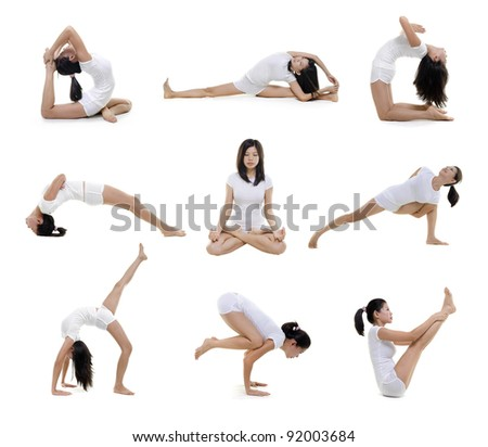 Collection of woman in yoga on white background - stock photo