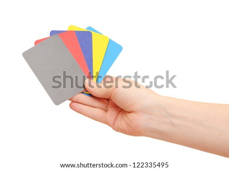 Collection of woman's hand hold collection of colorful card isolated on white