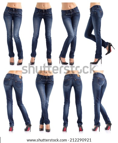 Collection of women's jeans in different poses isolated on white background