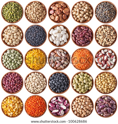 collection of wooden bowls with legumes isolated on white background