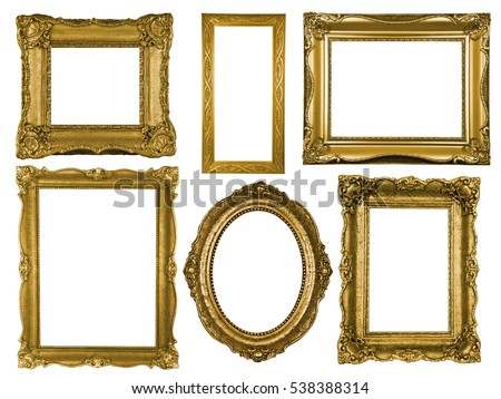 Collection of wooden frames isolated on white